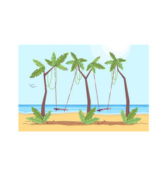 palm trees with two swing semi flat vector image
