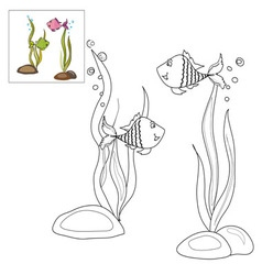 Picture for coloring two fish vector