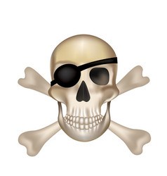 pirate crossbones skull vector image