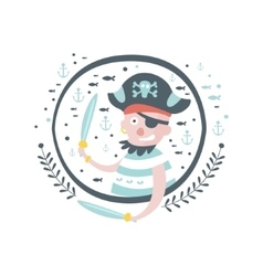 Pirate fairy tale character girly sticker in round vector