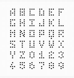 Pixel bit font alphabet and numbers vector
