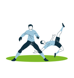 Player men with uniforms in aerodynamic position vector