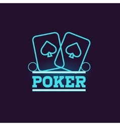 Poker Blue Neon Sign vector