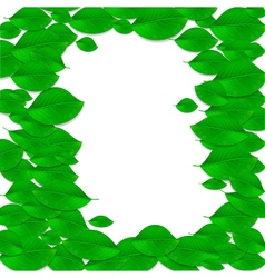 Realistic green leaves frame Ecology concept vector