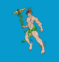 representation greek god hermes also known as vector image