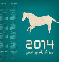 retro calendar for year 2014 origami horse vector image