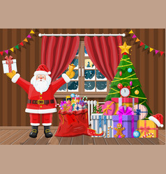 Santa in room with christmas tree and gifts vector