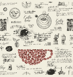 seamless background on coffee theme vector image