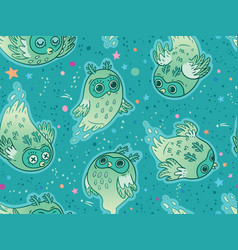 seamless pattern cute ghost owls in vector image