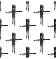 Seamless pattern with black grunge crosses vector image