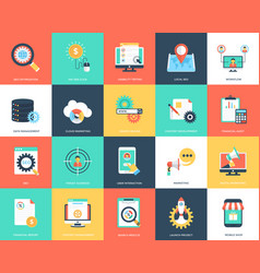 Seo and marketing flat icons set vector