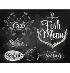 Set collection seafood chalk vector