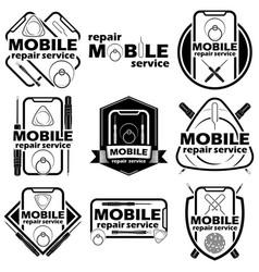 set nine mobile badge vector image