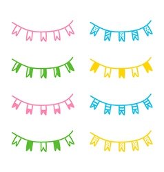 Set of hand drawn party flags vector