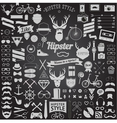 set vintage hipster icons vector image