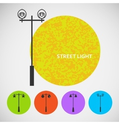 Set vintage street lights on colored backgrounds vector
