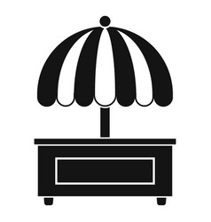 Shopping counter with umbrella icon simple style vector
