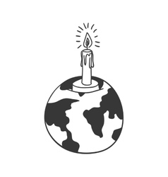 silhouette earth world map with candle vector image