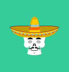 Skull in sombrero sleeping emoji mexican skeleton vector