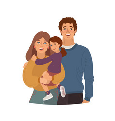 Smiling family mother father and daugher vector