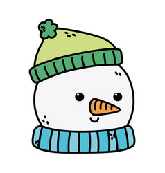 Snowman head with hat decoration merry christmas vector