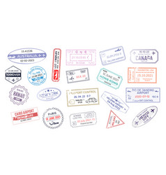 stamp in passport for traveling an open passport vector image