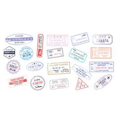 stamp in passport for traveling an open passport vector image