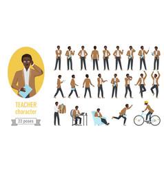 Stylish black african american man teacher poses vector