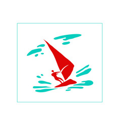 stylized image a man on a sailing board vector image