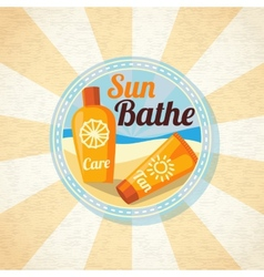 Sun care creams on the beach vector image