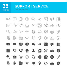 Support service line web glyph icons vector