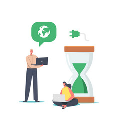 tiny business people at huge hourglass with green vector image
