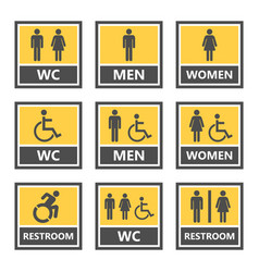 Toilet signs and restroom icons wc symbols vector