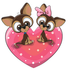 Two dogs is sitting on a heart vector