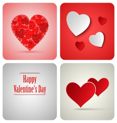 Valentine decoration card made from white paper vector image
