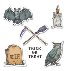 vintage style halloween stickers set hand drawn vector image