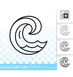 wave sea simple black thin line splash icon vector image