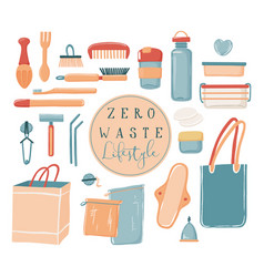 Zero waste eco lifestyle set of objects vector