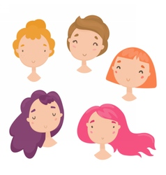 Collection of cute girls faces vector image