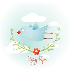 Flying Bird with Floral Wreath Cartoon vector image