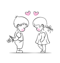 little boy and girl vector image vector image