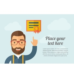 Man pointing the certificate icon vector image