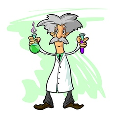 scientist with flasks vector image
