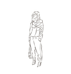 sexy fashion girl silhouette drawing in sketch vector image vector image