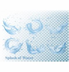 Splash of water on transparent background set vector