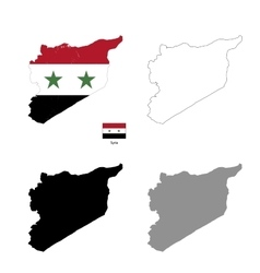 Syria country black silhouette and with flag on vector
