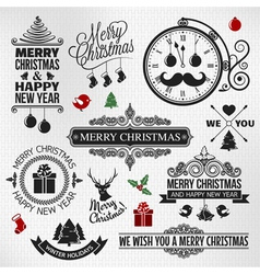 christmas happy new year vintage labels set vector image vector image