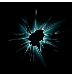 Green shattered glass window with bullet holes vector
