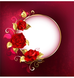 Round Banner with Red Roses vector image vector image