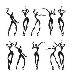 beautiful women dancing silhouettes vector image